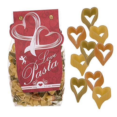 Love Pasta - Nudeln in Herzform / Herznudeln - Hartweizengrieß mit Tomate & Spinat - 250 g