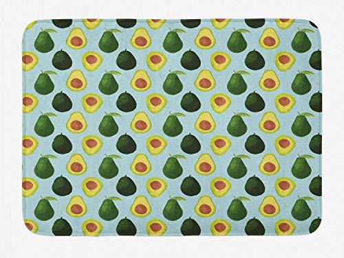 utong Avocado Green Badematte Gesunde Früchte mit großen Samen Plüsch Badezimmer Dekor Matte mit Rutschfester Rückseite Hellblau Multicolor