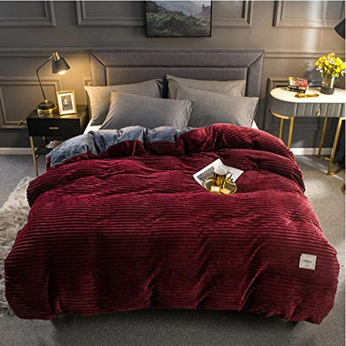1pcs Winter Warm Soft Double Side Plush Bed Blanket,Full Queen King Size Flannel Thick Duvet cover Comforter/Quilt/Blanket case.-Burgundy_180cmX220cm