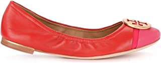 Tory Burch Woman's Minnie Cap-Toe Ballerina Shoe in Red Nappa Leather with Fuchsia Paint