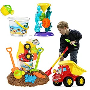 TEMI Beach Sand Toys for 3 4 5 6 7 Year Old Boys w/ Water Wheel, Dump Truck, Bucket, Shovels, Rakes, Watering Can, Molds…