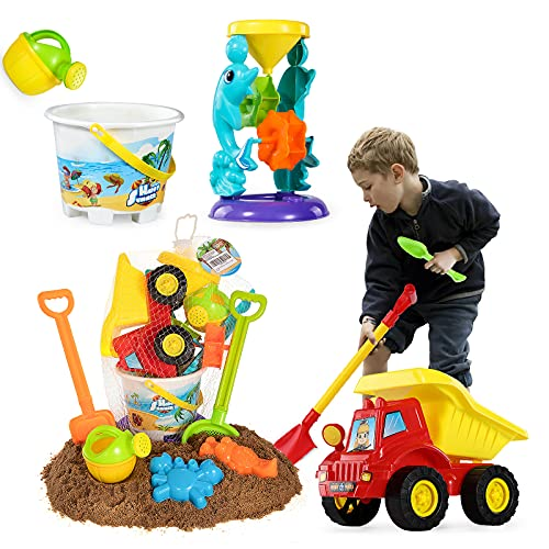 TEMI Beach Sand Toys Set with Water Wheel, Dump Truck, Bucket, Shovels, Rakes, Watering Can, Molds, Outdoor Tool Kit for Kids, Toddlers, Boys and Girls (11 Pieces)