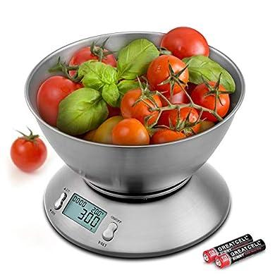 Foto di Uten Bilancia da Cucina Digitale Elettronica 5kg con Ciotola in Acciaio Inossidabile da 2 Litri Display LCD, Color Argento