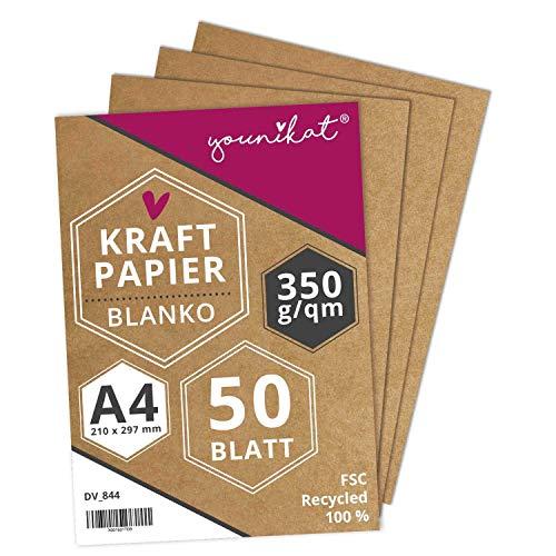 younikat Kraftpapier DIN A4 I 350 g/m² Starkes Recycling Designpapier I 50er Set I in Blanko zum selbst-gestalten DIY I zum schreiben malen I dv_844