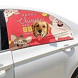 Zemivs Red Frohes Neues Jahr Schwein Faltbare Hund Sicherheit Auto Gedruckt Fenster Zaun Vorhang Barrieren Beschützer Für Baby Kind Einstellbar Flexible Sonnenschutzabdeckung Universal Fit...