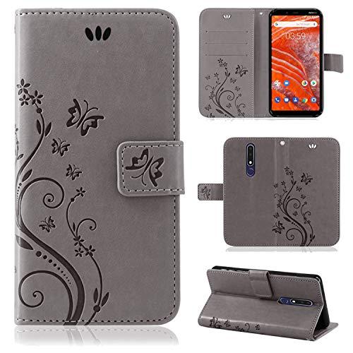 betterfon | Nokia 3.1 Plus Flower Case Handytasche Schutzhülle Blumen Klapptasche Handyhülle Handy Schale für Nokia 3.1 Plus Grau