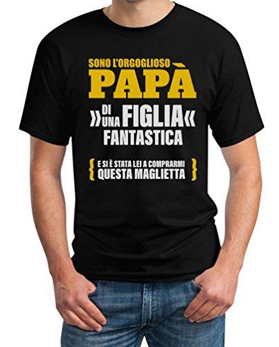 Sono L'orgoglioso papà di Una Figlia Fantastica - Regalo T-Shirt Maglietta Uomo Large Nero