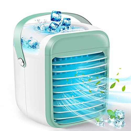 BIIBeSeamu Portable Air Conditioner, Anti-Leak Rechargeable Evaporative Air Cooler with 3 Speeds 7 Colors, Cordless Personal Air Conditioner Fan with Handle for Home, Office and Room