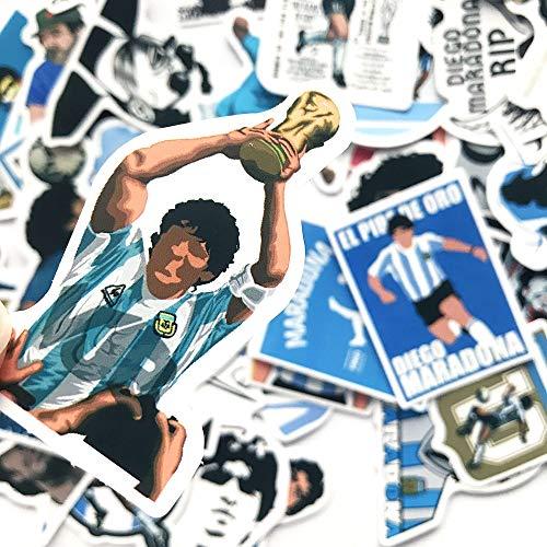 PMSMT 50 Piezas Deporte fútbol Maradona Pegatinas Mano de Dios portátil Maleta Equipaje Guitarra teléfono Impermeable PVC Pegatinas Regalo Chico Juguete calcomanía