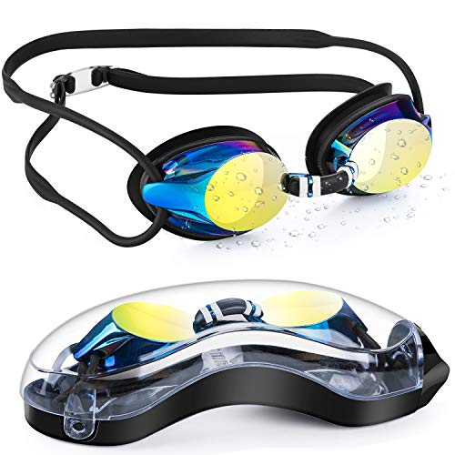 Portzon Swim Goggles, Silicone Nose Bridge, Clear Vision, UV Protection, Anti-Fog, Swimming Goggles for Adult Men Women Youth Kids Child, No Leaking