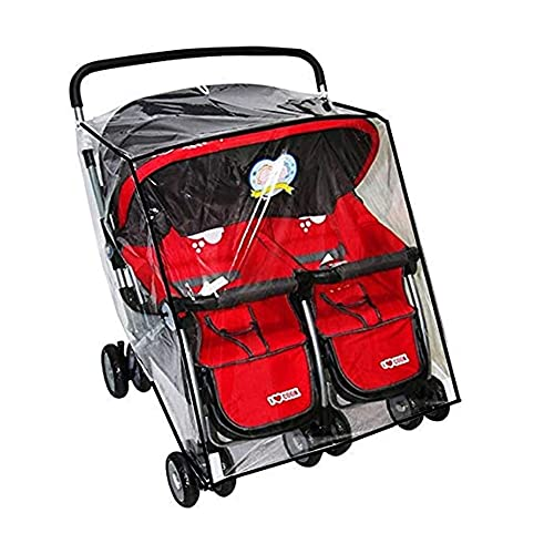 Universal Double Stroller Raincover Side by Side Weather Shield Pushchair Rain Cover Transparent PVC Pushchair Rain Cover Dustproof Windproof Double Pram Rain Cover for Pushchair