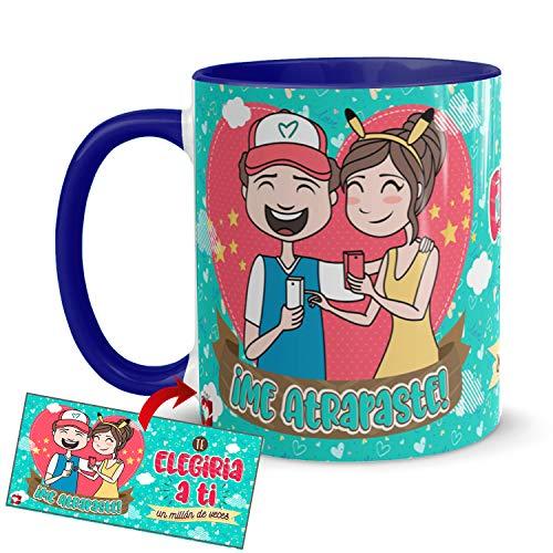 Kembilove Taza Desayuno para Parejas – Tazas Originales de Frikis para Enamorados – Taza Roja con Mensaje Gracioso Me atrapaste! – Tazas de de café para regalar el día de San Valentín