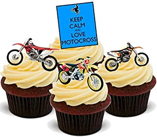 Keep Calm Motocross Biker Mix - Fun Novelty Birthday PREMIUM STAND UP Edible Wafer Card Cake Toppers Decoration