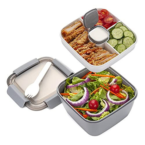 Freshmage Salad Lunch Container To Go, 52-oz Salad Bowls with 3 Compartments, Salad Dressings Container for Salad Toppings, Snacks, Men, Women (Grey)