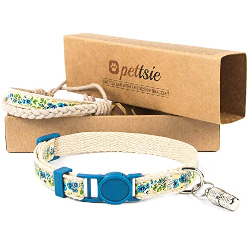Pettsie Cat Kitten Collar Breakaway Safety and Friendship Bracelet for You, ID Tag Tube Included, Durable 100% Cotton, Comfortable and Soft, D-Ring for Accessories, Easy Adjustable (5'-8' Neck, Blue)