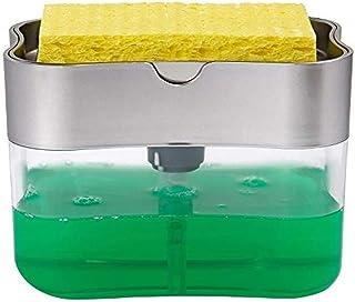 2 in 1 Sponge Rack Soap Dispenser and Sponge Caddy, 13 Ounces, Soap Pump Dispenser, Sponge Holder Countertop Liquid Soap D...