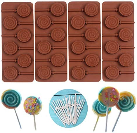 COOKNBAKE Round Silicone Mold for Lollipop Hard Candy Chocolate Cake Decorating With 24pcs Reusable product image