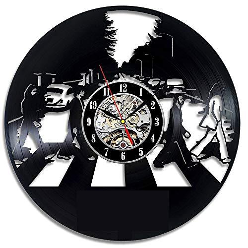 ARLT Reloj de Vinilo Reloj de Pared Vintage led Reloj de Vinilo Arte silencioso Creativo Simple Moderno diseño decoración Reloj 3D Reloj Reloj (Color : B)
