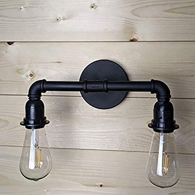 LOUmination Matte Black Vanity Fixture - Industrial Farmhouse Bathroom Light Fixtures - Metal Steampunk, Rustic Pipe Sconce - Dressing Room, Bedroom, Dining Room, Entryway, Hallway - 2 Lights