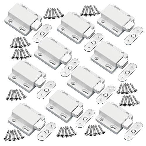 YUOIP® Geräuscharm Druck-Magnetverschlüsse,magnetische Türschnapper,Öffnen und Schließen von Türen mit einem Druck,10 Stück (Weiß)
