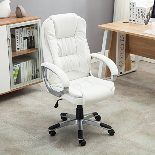Belleze Executive Office Chair Faux Leather Computer Hydraulic Adjustable Height Tilt Swivel High Back, White