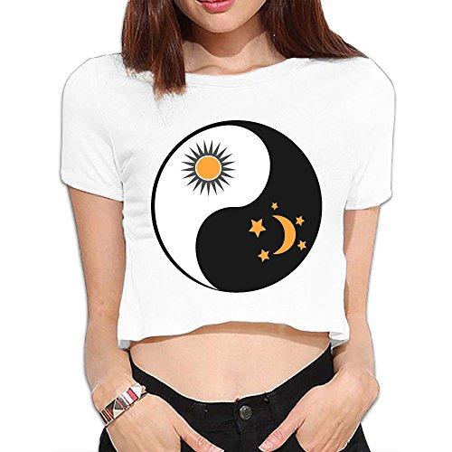 SARA NELL Women's Juniors Sun and Moon in Yin-yang Crop Top T-Shirt Tees White