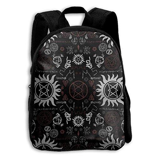 Supernatural Schulrucksack mit Symbolen, Schwarz