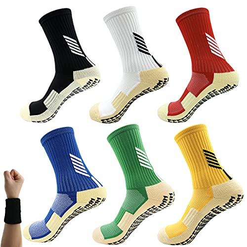 Dee Plus Niñas Niños Calcetines Antideslizantes de Deporte Fútbol Calcetines ninos con Suela ABS para Yoga, Danza, trampolín, Fitness, hogar para 6-11 Años Actividades al Aire Libre, Transpirables