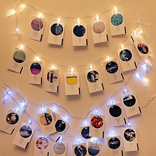 ZMY String Lights 20 LED Photo Clip with 8 Modes Choice 2.5M Christmas Halloween Courtyard Terrace Decoration Remote Rope Lights Battery Operated Fairy Lighted Holiday Displays