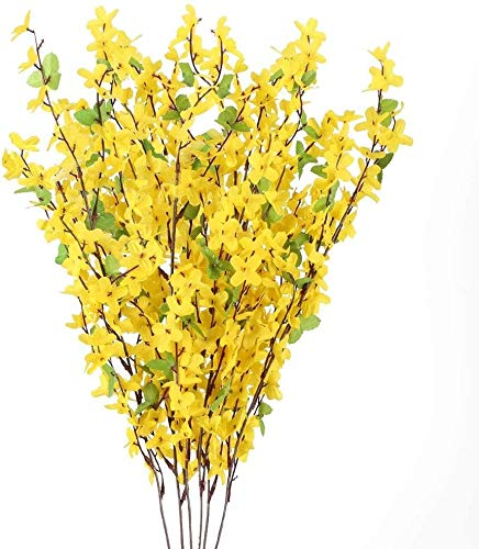 Künstliche Forsythie-Blumen, 10 Stück, künstliche gelbe Jasmin-Stiele, künstliche Forsythien-Zweige mit Blättern für drinnen und draußen, Hochzeit, Zuhause, Büro, Dekoration