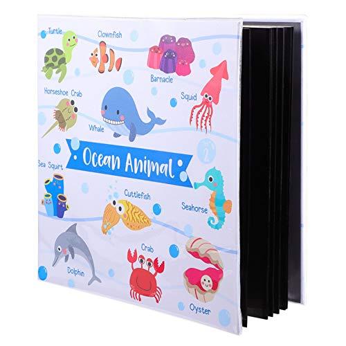 TOYANDONA Álbum de fotos de desenho animado laminado Álbum de animais marinhos faça-você-mesmo página preta feita à mão para viagens de aniversário
