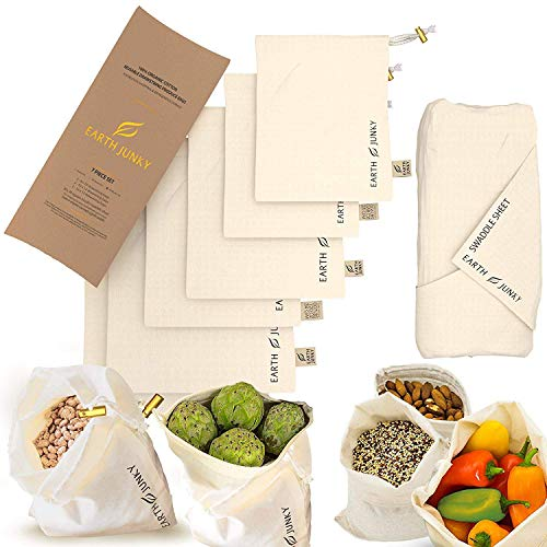 Organic Reusable Muslin Produce Bags - Washable Cotton Muslin Grocery Bags for Fruit and Veg Storage - 6 Food Grocery Bags and 1 Bonus Greens Swaddle Sheet - Eco Friendly Drawstring Bag Set - S, M, L