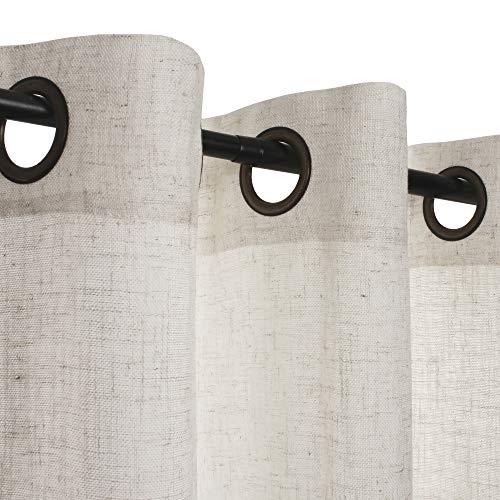 Palma Natural Linen Semi Sheer Curtains 2 Panels
