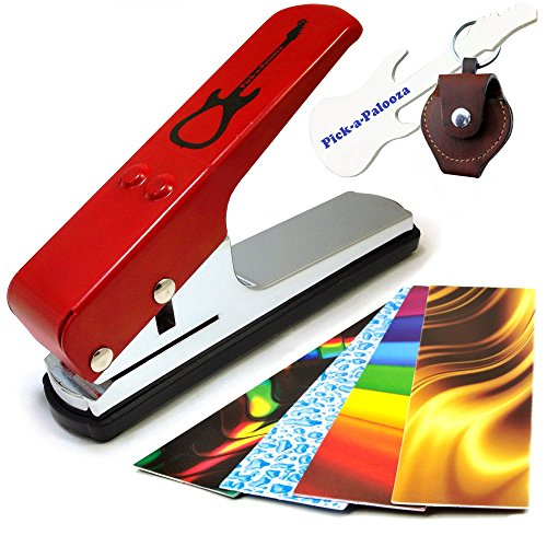 Pick-a-Palooza DIY Guitar Pick Punch with Leather Key Chain Pick Holder - Red
