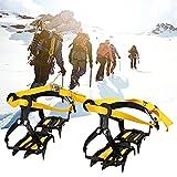 XIAOLINGTONG Crampones De Acero Al Manganeso De 12 Puntos para Escalar Crampones De Acero Inoxidable para Hielo Al Aire Libre, Senderismo, Escalada, Longitud Ajustable (Color : Yellow)