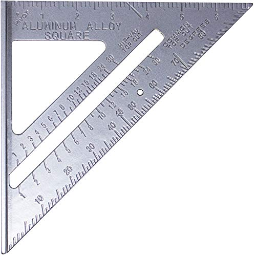 Toolman 7'' Aluminium Square Carpenter Triangle Square Pressional Easy-Read Layout Tool framing square wood-working Rafter Angle Square QTH031