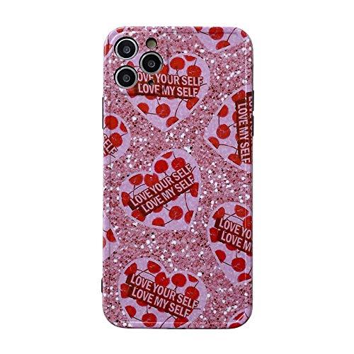 HNZZ Tmrtcgy Summer Sweet Girls Lentejuelas Brillo Retro Linda Caja del teléfono para iPhone 11 Pro MAX XR XS MAX x 7 8 Plus 7plus Funda de Silicona (Color : 02, Size : Iphone7Plus 8Plus)