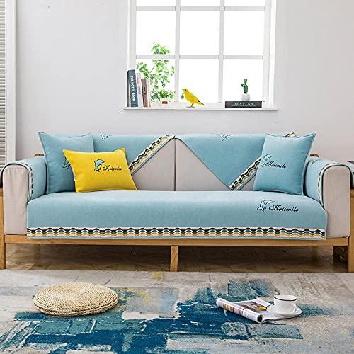 Funda elástica Protectora para sofá,Dolphin Modern Sofá Toalla Chenille Sofá Cojín, Fundas de sofá Antideslizantes para Sala de Estar Azul 90 * 210cm
