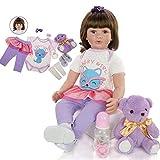 ASDAD 24' Reborn Silicone Tout-Petits Baby Doll Princess Girl Toys 60 Cm Vivant Bebes Renaîtra Filles Brinquedos Collection Cadeau d'anniversaire,Blue Eyes