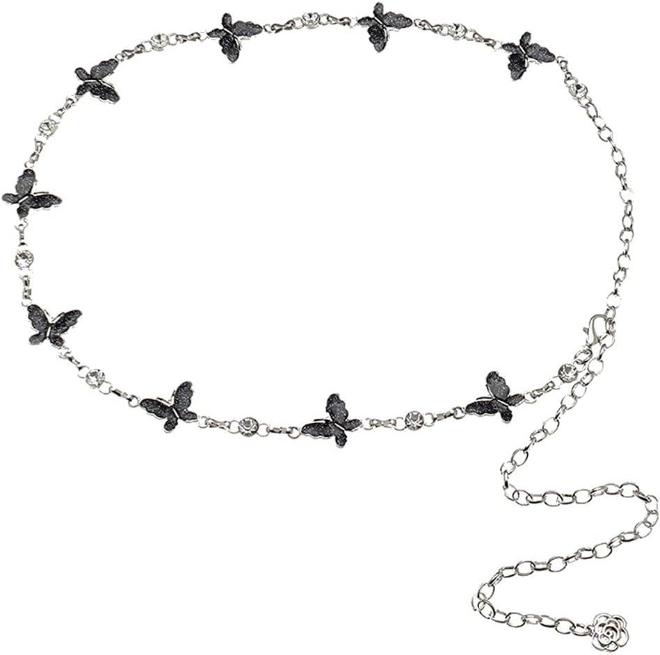 Dorakitten Waist Chain Butterfly Cute Adjustable Decorative Lightweight Fashion Body Chain Dress Belt for Women Simple Girl Woman