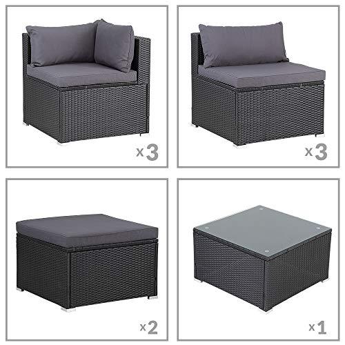 Casaria Poly Rattan XXL Lounge Set inkl. 7cm Auflagen und 15cm dicken Kissen Tisch mit Glasplatte frei stellbare Elemente Gartenmöbel Sitzgruppe Schwarz Grau - 6