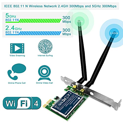 FebSmart Wireless Dual Band N600 (2.4GHz 300Mbps or 5GHz 300Mbps) PCI Express Wi-Fi Adapter for Windows XP 7 8 8.1 10 Server System (32/64bit) Desktop PCs-2-Stream MIMO PCIE Wi-Fi Card (FS-N600)