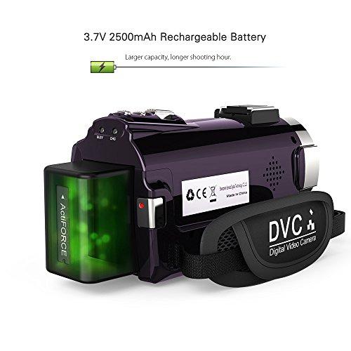 Andoer 4K 1080P 48MP WiFi Digital Videokamera Camcorder mit 0,39 X Weitwinkel Makro Objektiv Externes Mikrofon Novatek 96660 Chip 3 Zoll Kapazitiver Touchscreen IR Infrarot Nachtsicht 16X Digitalzoom