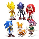 Sonic the Hedgehog Action Figures – 6-Pack Collectible Figures with Sonic Brooch– Highly Detailed Design – For Kids and Collectors– Includes Sonic, Tails, Knuckles, Metal Sonic, Amy Rose & Super Sonic