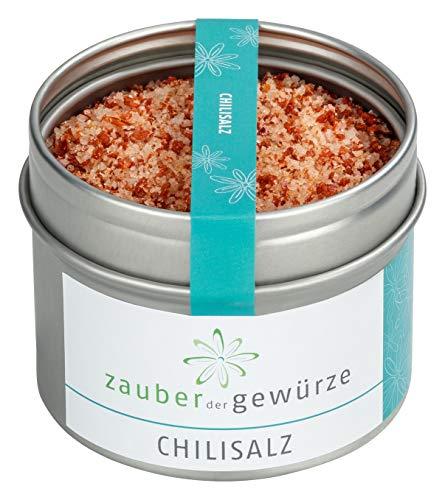 Zauber der Gewürze Chilisalz in Premium-Qualität - Gewürz-Salz in Aromadose für Pasta, Chili con Carne, Salsa-Soßen, Suppen - Gourmet-Geschenk, 95g