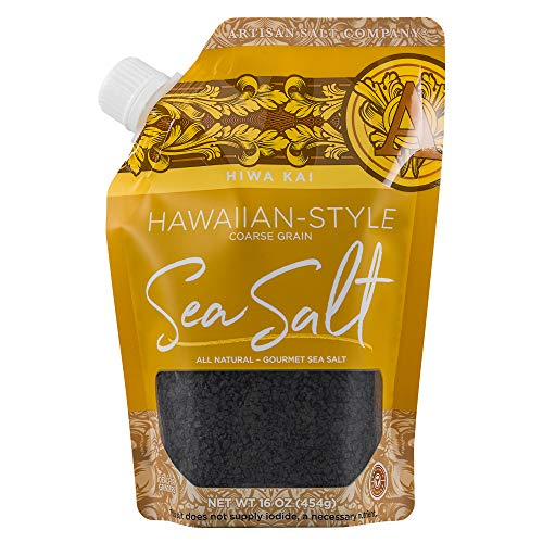 Artisan Salt Company Hiwa Kai Black Hawaiian-style Sea Salt, Coarse Grain, Pour Spout, 16 Ounce