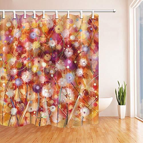 MMPTN Hand Paint Floral Duschvorhänge für Badezimmer Aquarell Weiße gelbe & rote Blumen in weicher Farbe Drucken Polyestergewebe Wasserdichtes Vorhang Duschvorhang 71X71in Musikgrafik Duschvorhänge