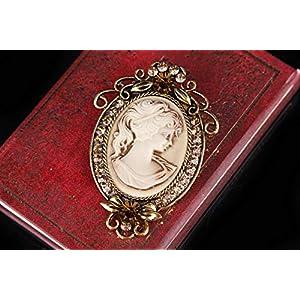 Gyn&Joy Vintage Style Cameo Victorian Lady Maiden Crystal Rhinestone Pin Brooch