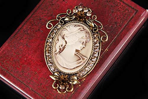 Gyn&Joy Vintage Style Cameo Victorian Lady Maiden Crystal Rhinestone Pin Brooch ¡ 4
