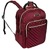 Kenneth Cole Reaction Women's Chelsea Backpack Chevron Quilted 15-Inch Laptop & Tablet Fashion Bookbag Daypack, Burgundy, Laptop
